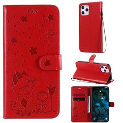 Embossing Bee and Cat Leather Wallet Case for iPhone 12 Pro Max (6.7 inch) - Red