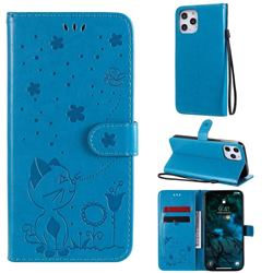 Embossing Bee and Cat Leather Wallet Case for iPhone 12 Pro Max (6.7 inch) - Blue