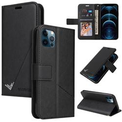 GQ.UTROBE Right Angle Silver Pendant Leather Wallet Phone Case for iPhone 12 Pro Max (6.7 inch) - Black