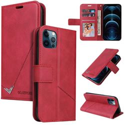 GQ.UTROBE Right Angle Silver Pendant Leather Wallet Phone Case for iPhone 12 Pro Max (6.7 inch) - Red