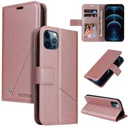 GQ.UTROBE Right Angle Silver Pendant Leather Wallet Phone Case for iPhone 12 Pro Max (6.7 inch) - Rose Gold