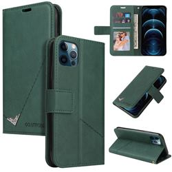 GQ.UTROBE Right Angle Silver Pendant Leather Wallet Phone Case for iPhone 12 Pro Max (6.7 inch) - Green