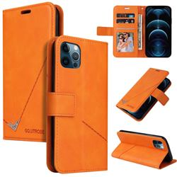 GQ.UTROBE Right Angle Silver Pendant Leather Wallet Phone Case for iPhone 12 Pro Max (6.7 inch) - Orange