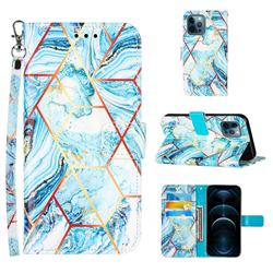 Lake Blue Stitching Color Marble Leather Wallet Case for iPhone 12 Pro Max (6.7 inch)