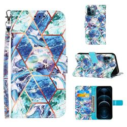 Green and Blue Stitching Color Marble Leather Wallet Case for iPhone 12 Pro Max (6.7 inch)