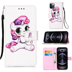 Playful Pony Matte Leather Wallet Phone Case for iPhone 12 Pro Max (6.7 inch)