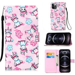 Unicorn and Flowers Matte Leather Wallet Phone Case for iPhone 12 Pro Max (6.7 inch)