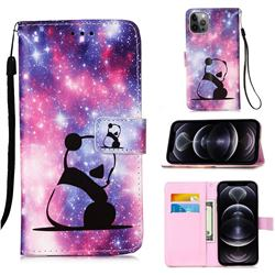 Panda Baby Matte Leather Wallet Phone Case for iPhone 12 Pro Max (6.7 inch)