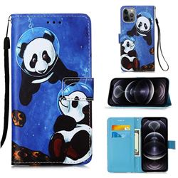 Undersea Panda Matte Leather Wallet Phone Case for iPhone 12 Pro Max (6.7 inch)