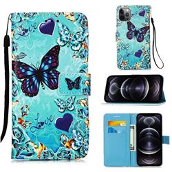 Love Butterfly Matte Leather Wallet Phone Case for iPhone 12 Pro Max (6.7 inch)
