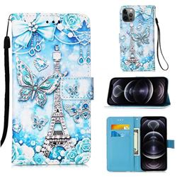 Tower Butterfly Matte Leather Wallet Phone Case for iPhone 12 Pro Max (6.7 inch)
