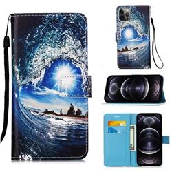 Waves and Sun Matte Leather Wallet Phone Case for iPhone 12 Pro Max (6.7 inch)