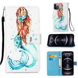 Mermaid Matte Leather Wallet Phone Case for iPhone 12 Pro Max (6.7 inch)