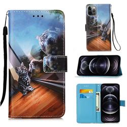 Mirror Cat Matte Leather Wallet Phone Case for iPhone 12 Pro Max (6.7 inch)