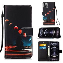 Wandering Earth Matte Leather Wallet Phone Case for iPhone 12 Pro Max (6.7 inch)