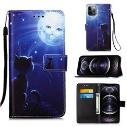 Cat and Moon Matte Leather Wallet Phone Case for iPhone 12 Pro Max (6.7 inch)