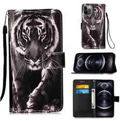 Black and White Tiger Matte Leather Wallet Phone Case for iPhone 12 Pro Max (6.7 inch)