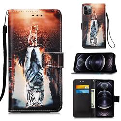 Cat and Tiger Matte Leather Wallet Phone Case for iPhone 12 Pro Max (6.7 inch)