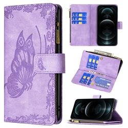 Binfen Color Imprint Vivid Butterfly Buckle Zipper Multi-function Leather Phone Wallet for iPhone 12 Pro Max (6.7 inch) - Purple