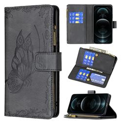 Binfen Color Imprint Vivid Butterfly Buckle Zipper Multi-function Leather Phone Wallet for iPhone 12 Pro Max (6.7 inch) - Black
