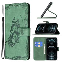 Binfen Color Imprint Vivid Butterfly Leather Wallet Case for iPhone 12 Pro Max (6.7 inch) - Green