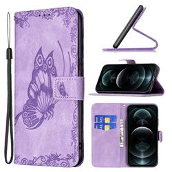 Binfen Color Imprint Vivid Butterfly Leather Wallet Case for iPhone 12 Pro Max (6.7 inch) - Purple