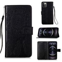 Embossing Dream Catcher Mandala Flower Leather Wallet Case for iPhone 12 Pro Max (6.7 inch) - Black