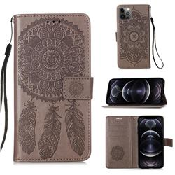 Embossing Dream Catcher Mandala Flower Leather Wallet Case for iPhone 12 Pro Max (6.7 inch) - Gray