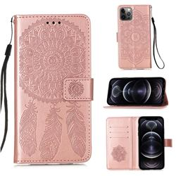 Embossing Dream Catcher Mandala Flower Leather Wallet Case for iPhone 12 Pro Max (6.7 inch) - Rose Gold