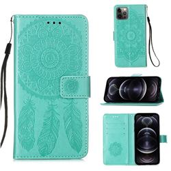 Embossing Dream Catcher Mandala Flower Leather Wallet Case for iPhone 12 Pro Max (6.7 inch) - Green