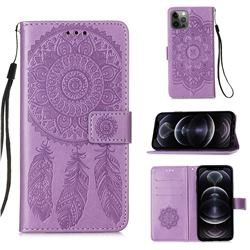 Embossing Dream Catcher Mandala Flower Leather Wallet Case for iPhone 12 Pro Max (6.7 inch) - Purple