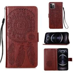 Embossing Dream Catcher Mandala Flower Leather Wallet Case for iPhone 12 Pro Max (6.7 inch) - Brown