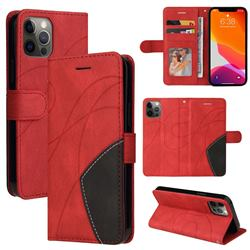 Luxury Two-color Stitching Leather Wallet Case Cover for iPhone 12 Pro Max (6.7 inch) - Red