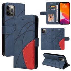 Luxury Two-color Stitching Leather Wallet Case Cover for iPhone 12 Pro Max (6.7 inch) - Blue