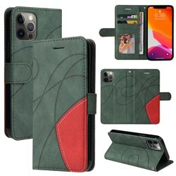 Luxury Two-color Stitching Leather Wallet Case Cover for iPhone 12 Pro Max (6.7 inch) - Green