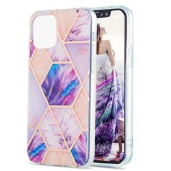 Purple Dream Marble Pattern Galvanized Electroplating Protective Case Cover for iPhone 13 (6.1 inch)