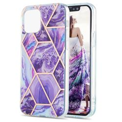 Purple Gagic Marble Pattern Galvanized Electroplating Protective Case Cover for iPhone 13 (6.1 inch)