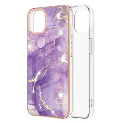 Fashion Purple Electroplated Gold Frame 2.0 Thickness Plating Marble IMD Soft Back Cover for iPhone 13 (6.1 inch)