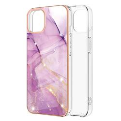 Dream Violet Electroplated Gold Frame 2.0 Thickness Plating Marble IMD Soft Back Cover for iPhone 13 (6.1 inch)