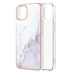 White Dreaming Electroplated Gold Frame 2.0 Thickness Plating Marble IMD Soft Back Cover for iPhone 13 (6.1 inch)