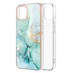 Green Silk Electroplated Gold Frame 2.0 Thickness Plating Marble IMD Soft Back Cover for iPhone 13 (6.1 inch)