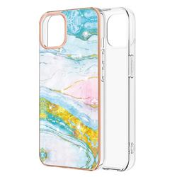 Green Golden Electroplated Gold Frame 2.0 Thickness Plating Marble IMD Soft Back Cover for iPhone 13 (6.1 inch)