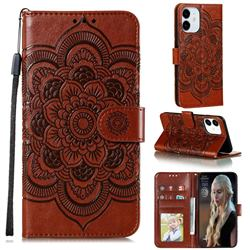 Intricate Embossing Datura Solar Leather Wallet Case for iPhone 13 (6.1 inch) - Brown