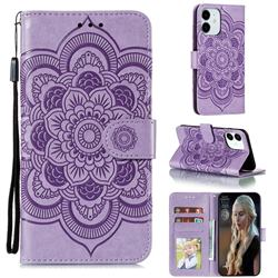 Intricate Embossing Datura Solar Leather Wallet Case for iPhone 13 (6.1 inch) - Purple