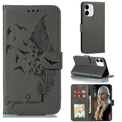 Intricate Embossing Lychee Feather Bird Leather Wallet Case for iPhone 13 (6.1 inch) - Gray