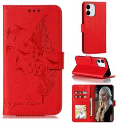 Intricate Embossing Lychee Feather Bird Leather Wallet Case for iPhone 13 (6.1 inch) - Red