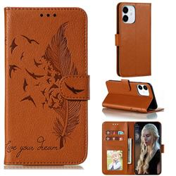 Intricate Embossing Lychee Feather Bird Leather Wallet Case for iPhone 13 (6.1 inch) - Brown