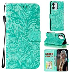 Intricate Embossing Lace Jasmine Flower Leather Wallet Case for iPhone 13 (6.1 inch) - Green