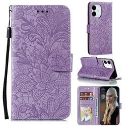 Intricate Embossing Lace Jasmine Flower Leather Wallet Case for iPhone 13 (6.1 inch) - Purple