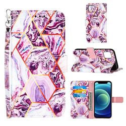 Dream Purple Stitching Color Marble Leather Wallet Case for iPhone 13 (6.1 inch)